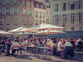 Busy street cafe, Place de l'Odeon, Paris