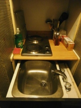 This is my favorite space saving device ... the sink is in a drawer. You pull it out to do the dishes .. mostly, it doesn't leak ...